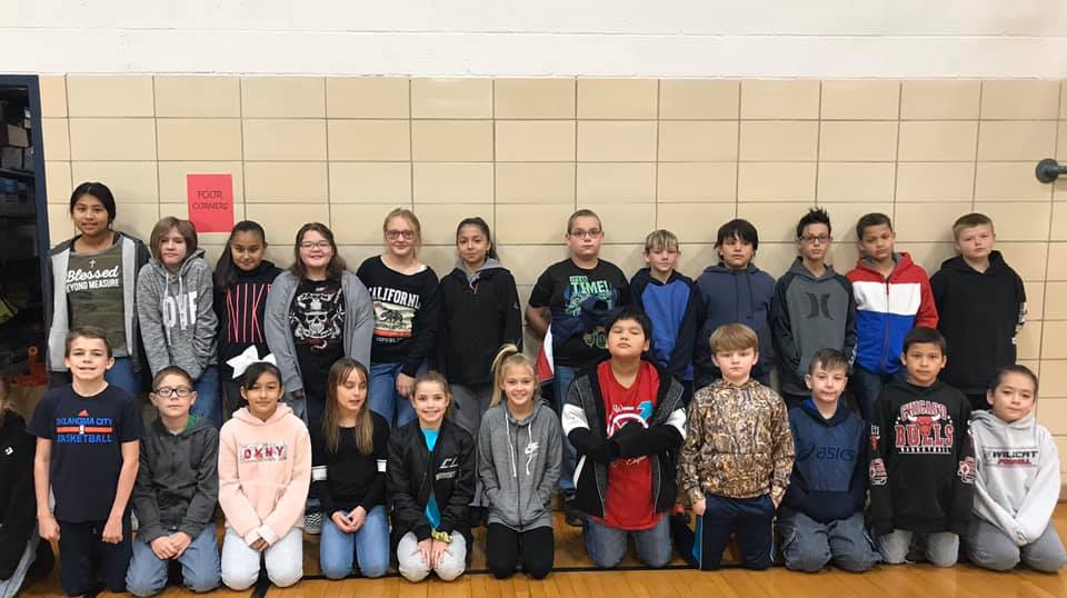 Liberty 4th and 5th grade students participating in Spelling Bee