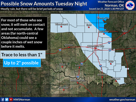 Snow possible Tuesday night through Wednesday morning