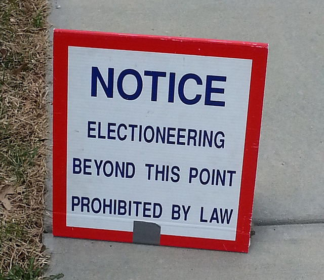 No electioneering allowed near voting locations on election day