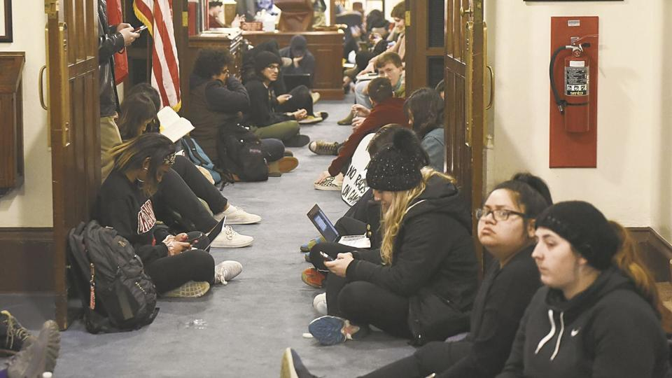 Students stage sit-in outside University of Oklahoma offices